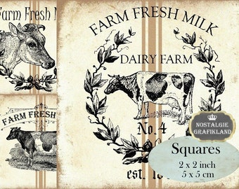 Farm Squares Cow Fresh Milk 2x2 inch squares Instant Download digital collage sheet TW167 Country Kitchen