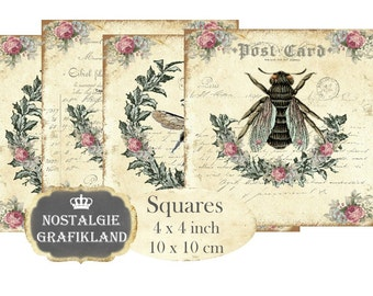 Bee Shabby Chic Honey printable Coaster Beekeeping Squares 4 x 4 inch Instant Download digital collage sheet TG137
