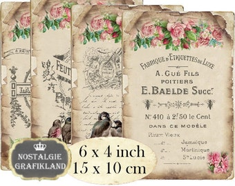 French Papeterie 6 x 4 inch Instant Download digital collage sheet D150 vintage paper