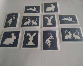 Rabbit themed tattoo set including 30 stencils + 5 colors + glue bunny