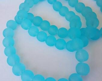 Aqua Sea Glass Beads 10mm Approx 86 pcs