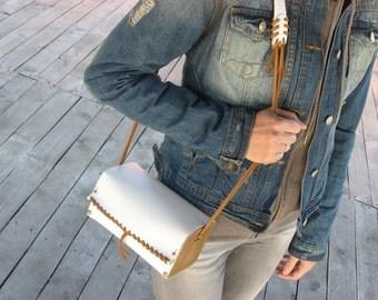 Handmade modern leather - wood purse / ready to ship