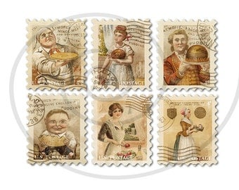 Fake stamps. Old postage stamps. Vintage digital stamps. Postage stamp art. Digital collage sheet. Food advertising. Instant download PNG
