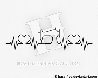 Sewist Heartbeat - Printable vector, svg, eps,  jpeg