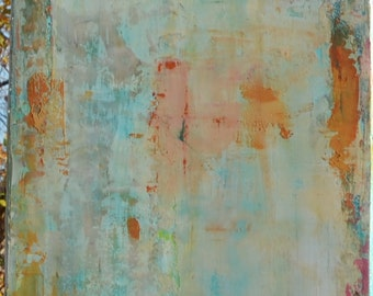 "Abstract original ""beach series"" rust , orange ,blues, teals ."