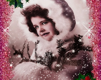 Vintage Christmas Girl Collage - 8.5 x 11 inches.