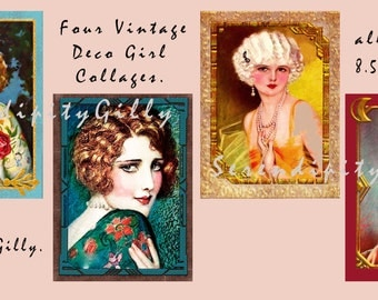 Four Vintage Deco Girl Collages.