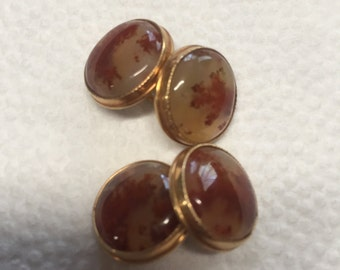 10K Red Mossy Agate Clufflinks ~ Marked GS ~ Really Beautiful ~ High Quality