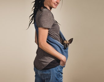 Dog sling summer carrier SMALL mixes blue in three sizes 0 - 18 lbs.