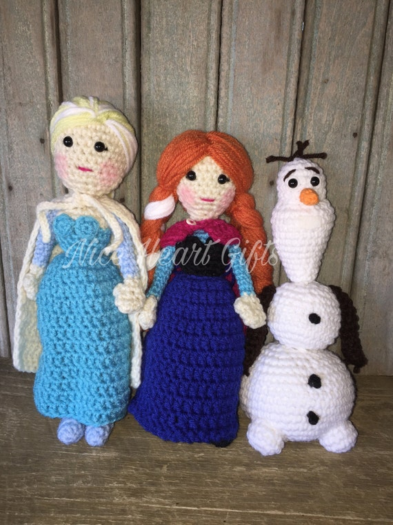 Amigurumi Elsa Ve Anna : Elsa Anna and Olaf Frozen Inspired Amigurumi Set