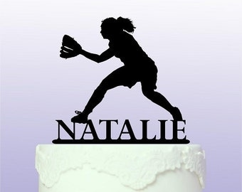 Personalised Softball Cake Topper