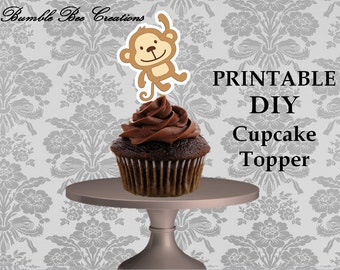 DIY Cupcake Toppers - Digital File - Instant Download - Monkey Theme - Brown