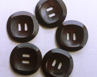 Wooden buttons. 30mm Dark brown square 2 hole.  #B21381 Set of 5