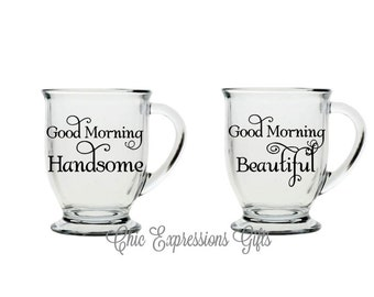 Good morning coffee mug set -16 oz clear mug