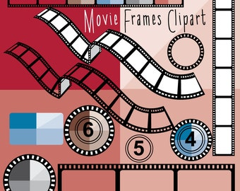 Movie reel frames clipart - 30 piece - Instant Download