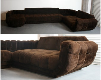 Mid Century Modern Tufted Sectional Sofa w/ Built in End Table