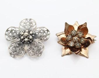 Set of 2 Vintage Sterling Silver Rose Gold Vermeil Filigree Flower Brooches BEAU. [6380]