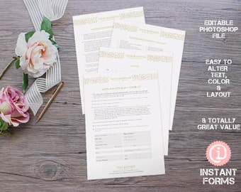 Wedding Photography Contract and Forms - IF095 - INSTANT DOWNLOAD. You'll receive 4 psd files