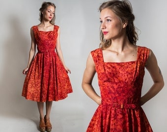 1950's Designer  Minx Modes Orange-Red Party dress / Open Back 50's day dress / Holiday dress / Prom dress / Size Small
