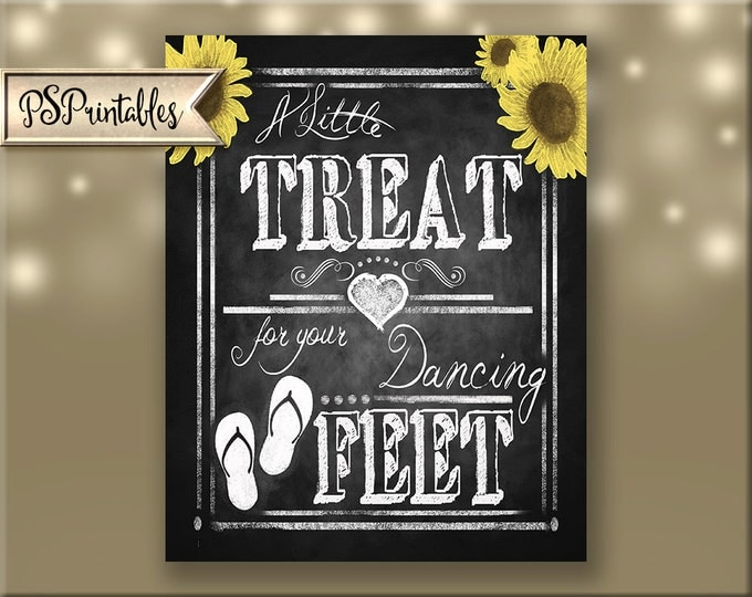 Printable Wedding Flip Flop chalkboard sign DIY PRINTABLE file, Beach Wedding favors, Summer wedding favors - Rustic Sunflower Collection