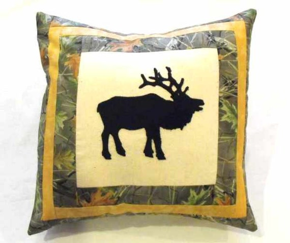 Decorative Elk Throw Pillow Rustic Cabin Decor Elk Themed