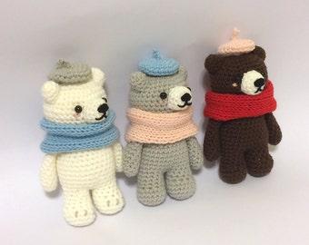 Bear Triplets, crochet Pattern ,Amigurumi ,cute ,crochet,DIY,