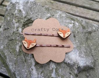 Handmade sleeping fox face hair slides - fox hair grips Bobby pins