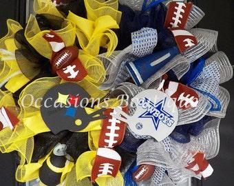 Pre-Order NFL Football Wreath, House Divided Wreath, Wreath for Door, Front door wreaths, Football Party, Door Hanger