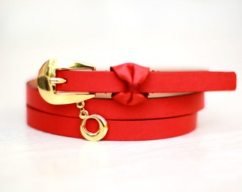 Free shipping! Leather belt, red belt, bow belt, belt for woman, red leather belt, red woman belt, belt, red bow belt, red waist belt