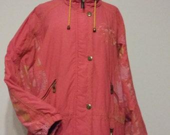 Luhta coral neon pink tribal jacket anorak ski coat surf size 42 EU 14 US
