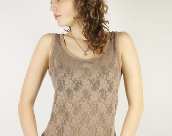 ON SALE Brown Lace Top Summer Cappuccino Brown Sleeveless Romantic Blouse Medium Size