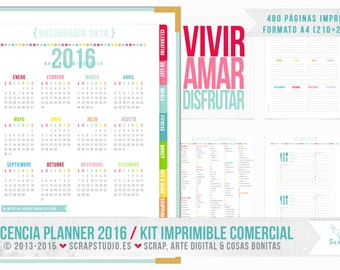 Planner 2016 Printable - Includes professional LICENSE use business