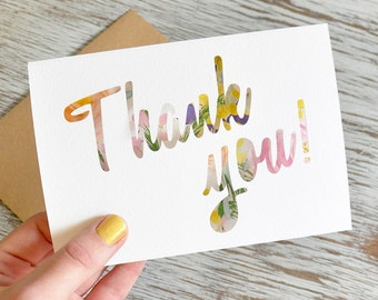 Thank you Paper Cut Greetings Card with Watercolour Insert