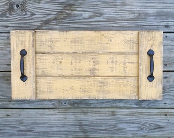 Distressed Rustic Wooden Serving Tray in Vintage Mustard, Coffee Table Tray, Ottoman Tray, Beverage Tray, Wooden Serving Platter,