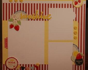 "12x12 premade ""Sunshine"" scrapbook page"