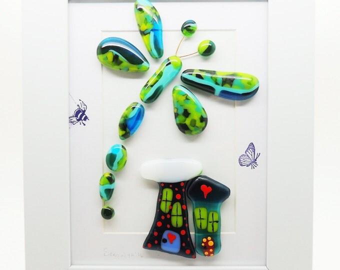 Fused glass wall art panel. Blue green Dragonfly. Higgledy houses handmade. Birthday housewarming, wedding anniversary gifts Tree of life.