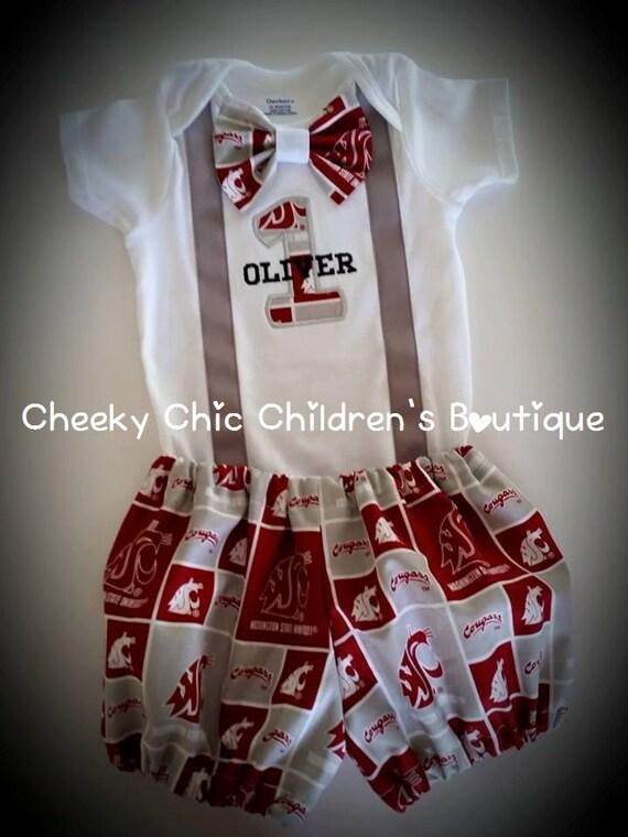 WSU Cougars Birthday Bow Tie Suspender Set