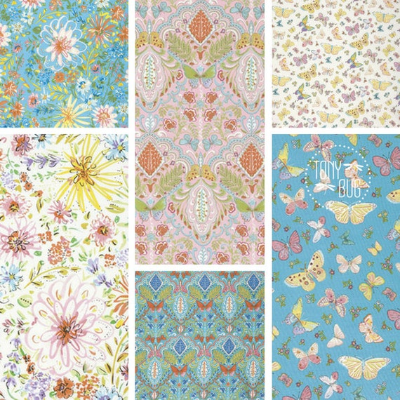 Free spirit fabric butterfly garden by dena designs bundle for Dena designs tea garden fabric