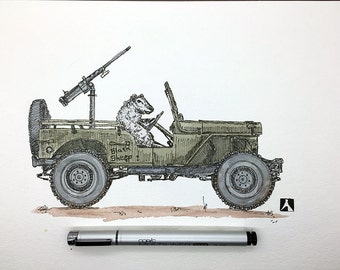 KillerBeeMoto:  Original Sketch of Sheep in a Jeep 12 x 9 Inches