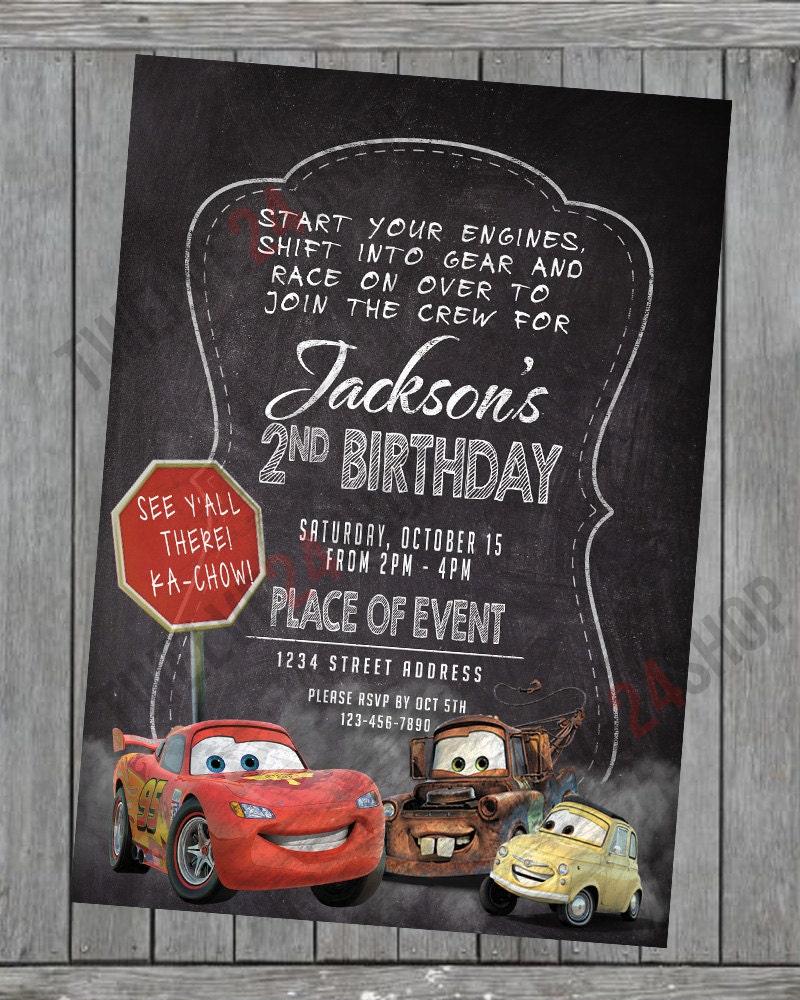 Disney's Cars Birthday Invitation Lightning McQueen Mater