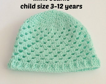 Crochet kids beanie, crochet baby beanie, winter hat for girls, knitted beanie, crochet kidswear for girls and boys, mint green cloche hat