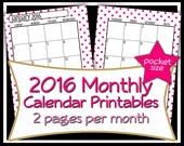 SALE - 2016 Monthly Calendar Printables- Pocket Size