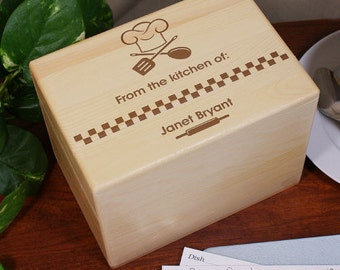 Personalized Recipe Box, Wood Recipe Box Holder