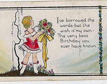 Vtg Birthday Postcard Little Girl w/Bouquet Drawing Pre Art Deco
