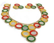 Colorful Mirror work sewing Neckline Saree Blouse Indian Blouse Handmade mirror Blouse  Mirror Work-FREE SIZE UNSTITCHED-Idb11