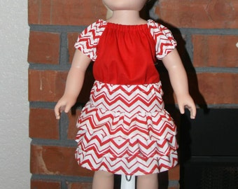 "Red with Red and White Chevron Sleeves Top and Matching Skirt for 18"" doll like American Girl"