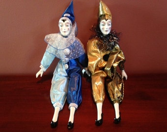 Pair of Vintage Venitian Harlequin Dolls