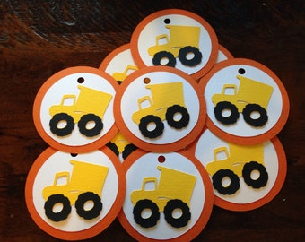 Dump Truck Party Favor Tags/ dump truck gift tags