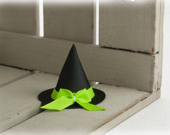 Mini Witch Hat Hair Clip, Ribbon Sculpture, Halloween Hair Clip