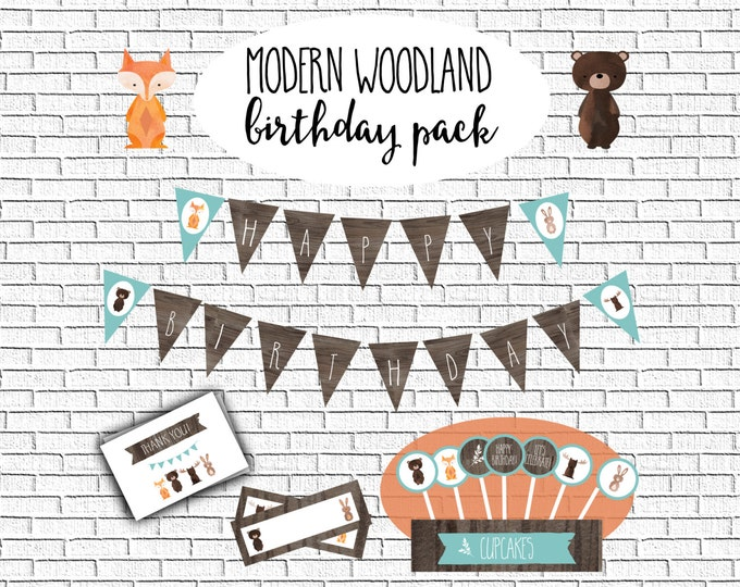 Printable Birthday Package- Modern Woodland- Instant Download, Party printables, fox, birthday party, cupcake toppers, banner #16